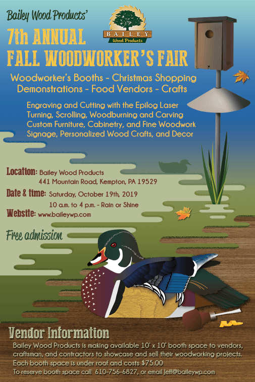 Fall Woodworker's Fair at Bailey Wood Products, Inc