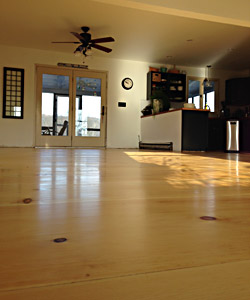 Installed Custom Flooring Random Width Knotty Pine